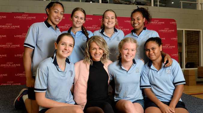 Lorna Jane Clarkson visited Ipswich Girls' Grammar School on Wednesday. Students (clockwise from top left) Elizabeth Raeli, Caitlin Levinge, Holly Van Der Zee, Francis Newman, Clarissa Laifoo, Holly Harding and Myah McGrath.