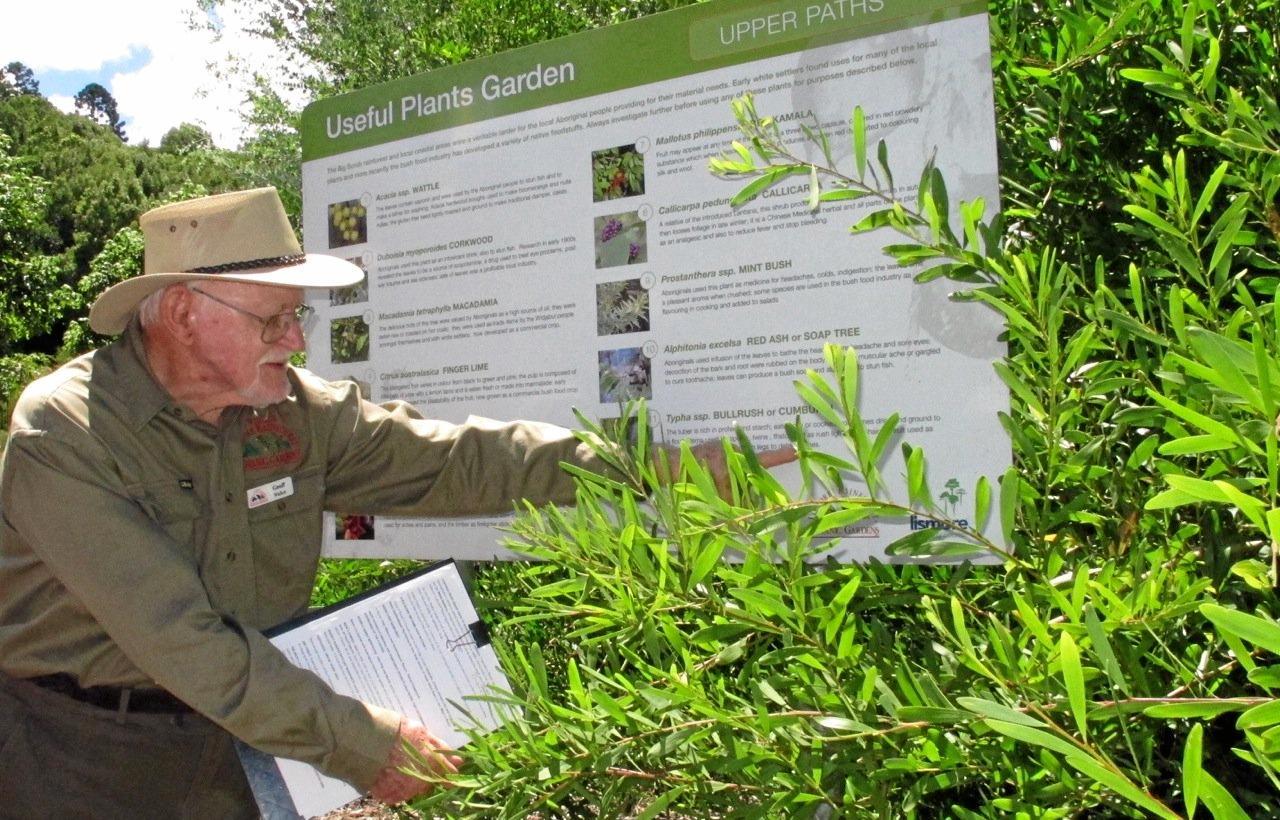 OPEN DAY: Geoff Walker acts as guide in Lismore Botanic Gardens Useful Plants Garden.