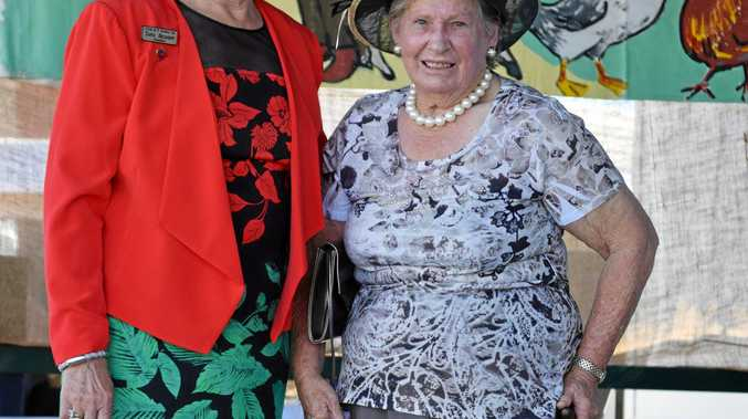 STYLISH: Callide Valley Show Society president Tanya Belousoff (left) with best-dressed lady Dorothy Rideout at the 2016 show.
