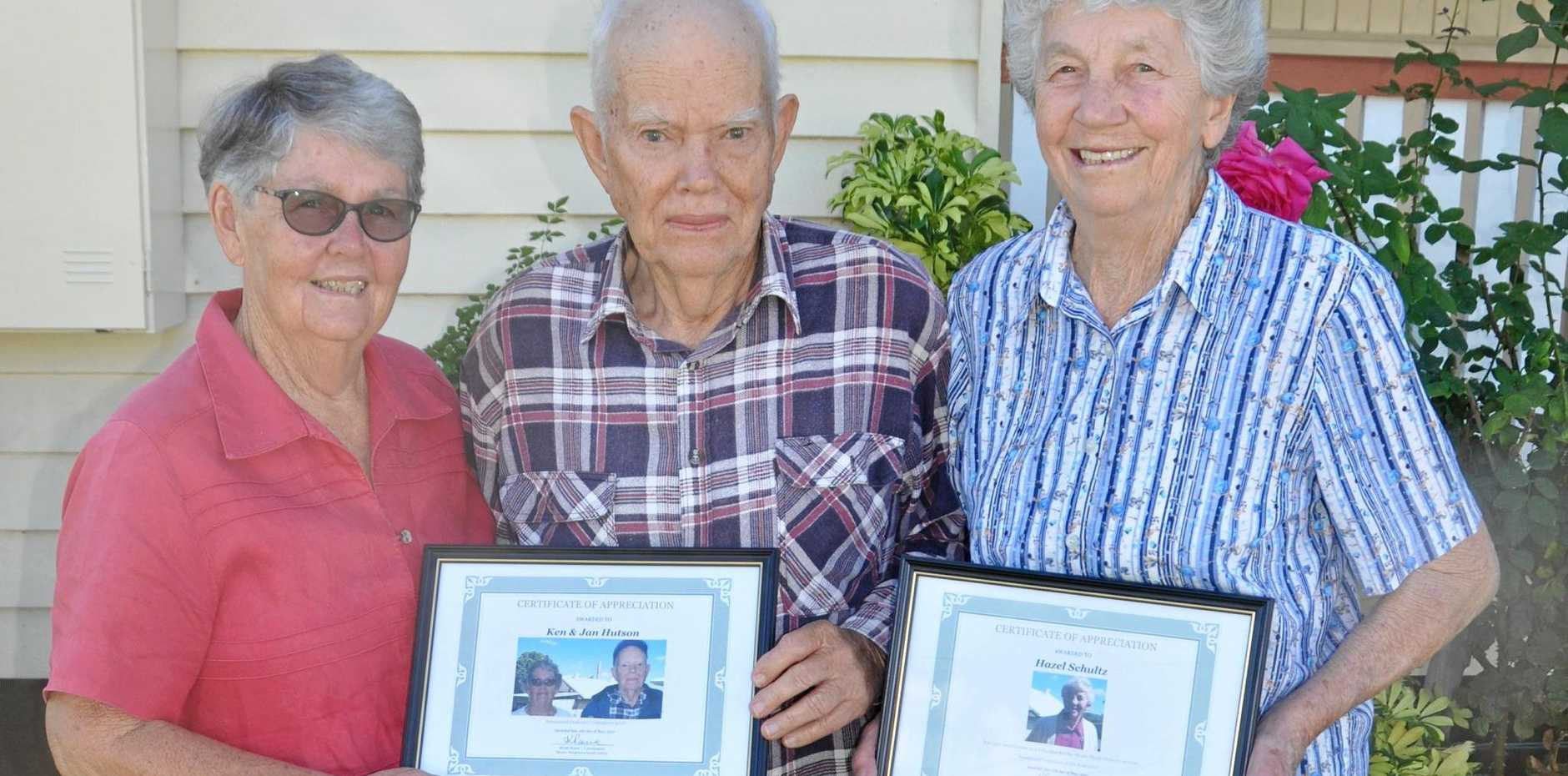 DEDICATION: Jan and Ken Hutson and Hazel Schultz, along with Dawn Dowling (not pictured), were commended for their service to Meals on Wheels.
