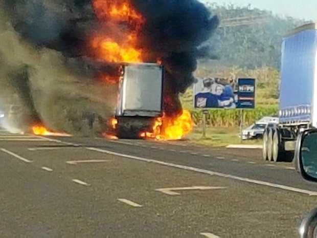 A truck was alight on the Bruce Highway this morning.