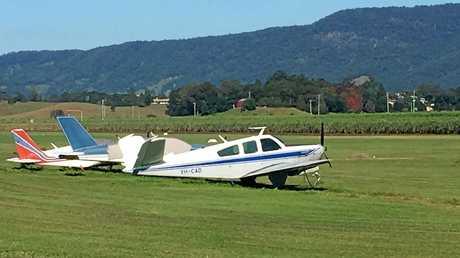 Aircraft at the Murwillumbah airstrip this morning.