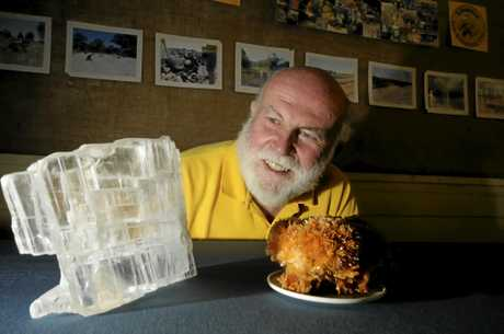 All ready for Gemfest at the Weekend President of the Lismore Gem and Lapidary club Bruce Copper showing off a Calcite,and Gypsum. Photo Doug Eaton / The Northern Star