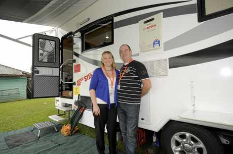 Kelly, and Garry Lee owners of Pacific RV Australia Pty Ltd in Lismore at the 4WD Caravan camping and Marine show at the Lismore show ground. Photo Doug Eaton / The Northern Star