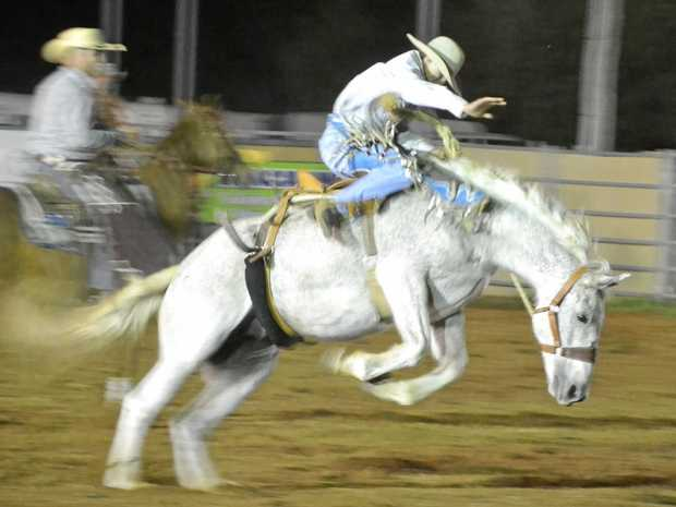 Benam Underwood holds on during the Chinchilla Show Rodeo last year.