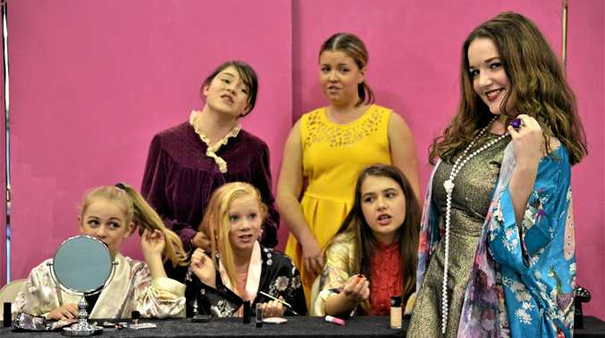 PERFORMERS: Student Mahala Pemberton (front right) in character as Tallulah with (back, from left) Aylish Ryan and Madelyn Robinson and (front from left) Courtney Dukes, Jocelyn Smith and Eleanor Anderssen in the St Joseph's College production of Bugsy Malone.