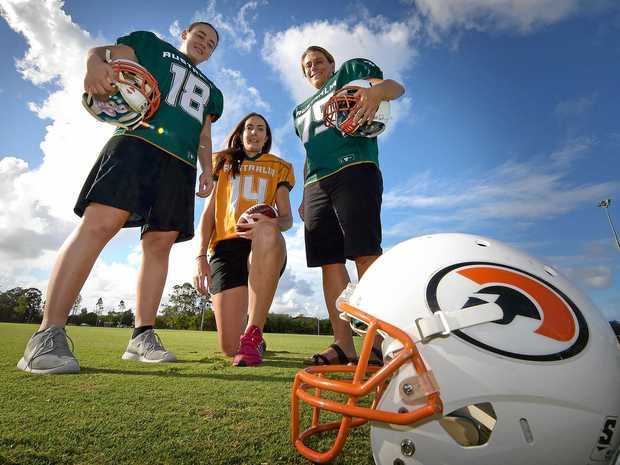 AUSSIE REPS: Members of the Australian women's gridiron team Rhianna Kuss, Casey Cubis and Brandie Clucas are ready for the challenge.