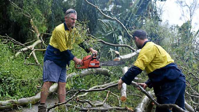 AIRLIE AFTERMATH: Good samaritans Robbie Brodhurst and Steve Donnelly, drove around neighourhoods to help clear paths for anyone in need.