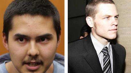 Australian-Bulgarian John Zakhariev, left, and Australian Jock Palfreeman appear in court in the Bulgarian city of Sofia.
