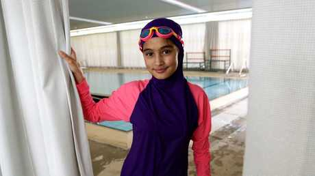 Fatima Mossavi, 13, trials the new program pool at the Auburn Ruth Everuss Aquatic Centre. Picture: Carmela Roche.