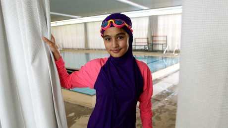 Fatima Mossavi, 13, trials the new program pool at the Auburn Ruth Everuss Aquatic Centre. Picture: Carmela Roche.