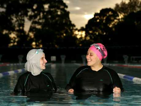 Swim Sisters Yusra Metwally and Tamara Kahil hope the new facility will encourage other swimmers. Picture: Justin Sanson
