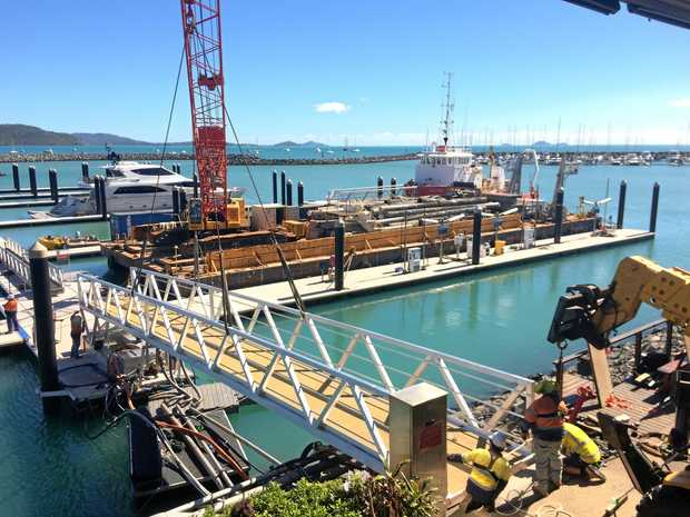 MOVING FORWARD: The walkway to Abell Point Marina's pontoons was installed last week, two weeks earlier than expected.