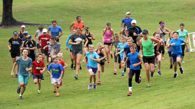 OFF AND RUNNING: The start of the Mid North Coast 2km Run at Urunga on Sunday.