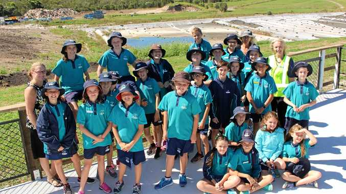 SUSTAINING INTEREST: Emma Menzies takes Noosaville State School students and teachers on a landfill tour.
