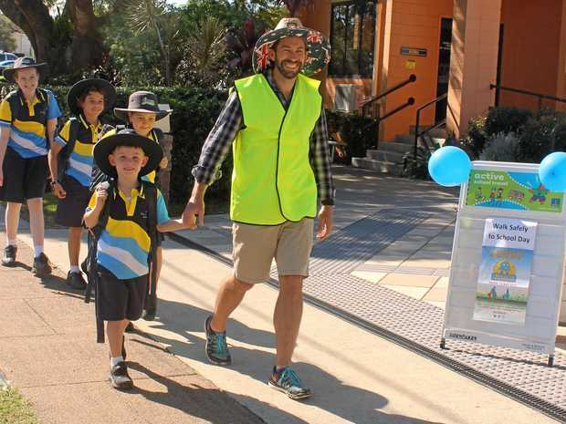 Preparing for National Walk Safely to School Day at St Kieran's Primary School are (front) Connor Melit with teacher Mat Scott and (back) Ella Jarvis, Charles Tongia and Sophia Shenadar.