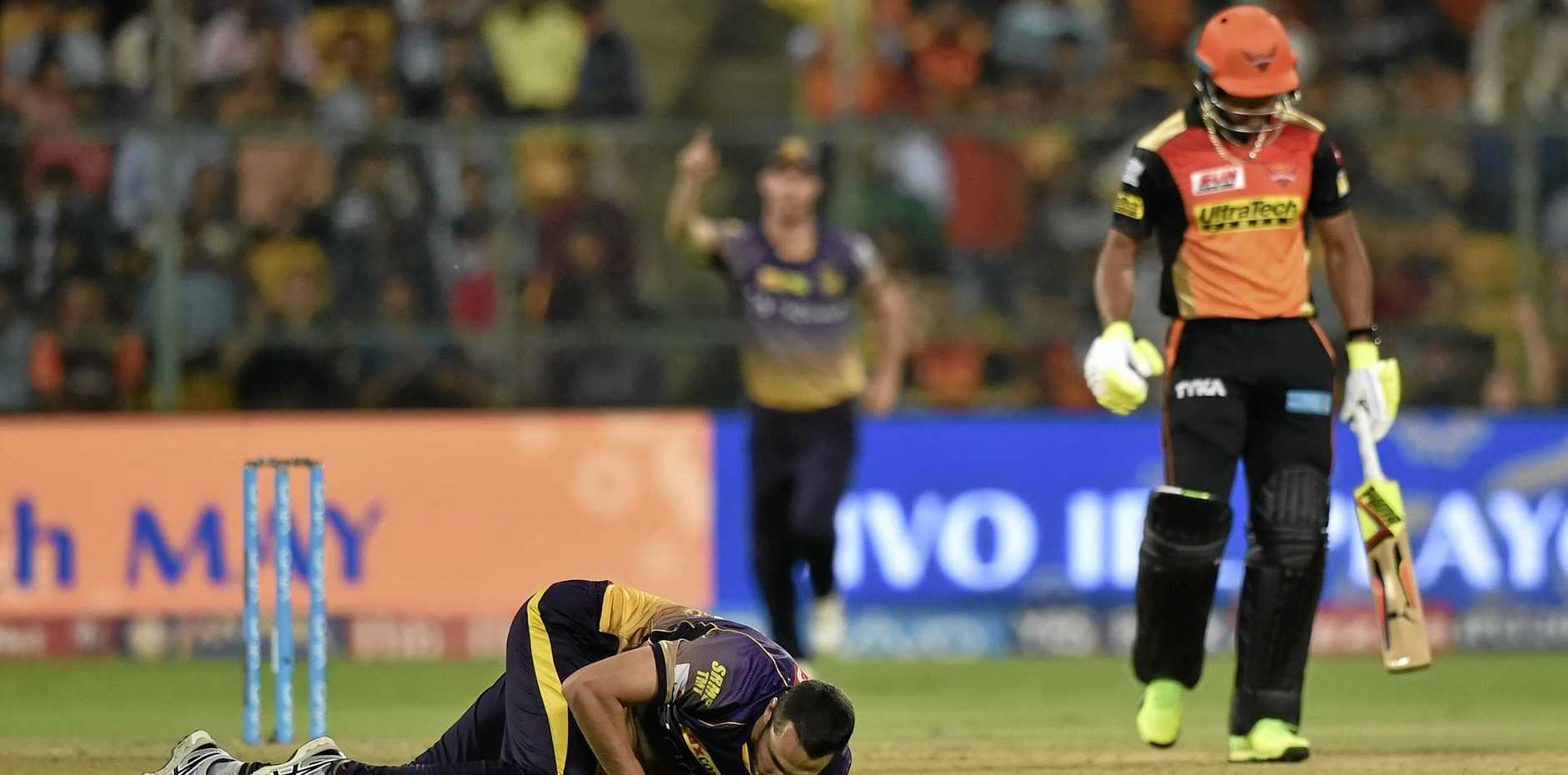 HOWZAT: Kolkata Knight Riders' Nathan Coulter-Nile after taking a stunning return catch from Chris Jordan.