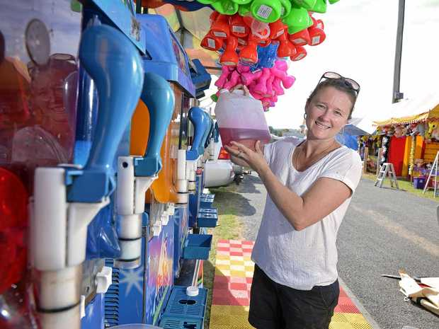 Jade Godfrey filling up the slushies for the Gympie Show, which enters day two tomorrow.