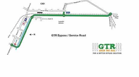 A diagram of Butler Street Community Network's Grab The Rail bypass plan for Byron Bay.