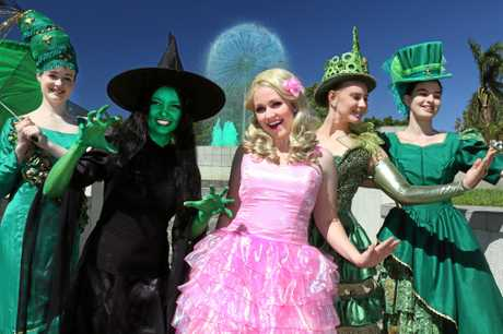 Wicked cast members (from left) Caitlin Whitfield, Cloe Blomfield (understudy), Kelly Nicole Smith, Renae Conway and Leia Brook