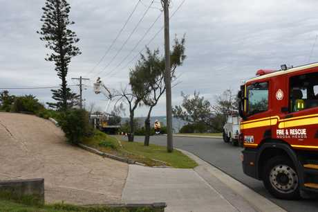 Emergency services closed off the street briefly while Energex worked on restoring power to Sunshine Beach and Noosa.