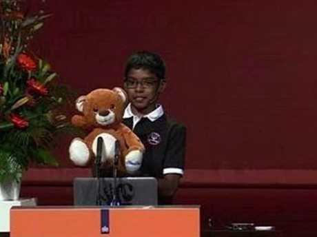Hacks his robotic Teddy.