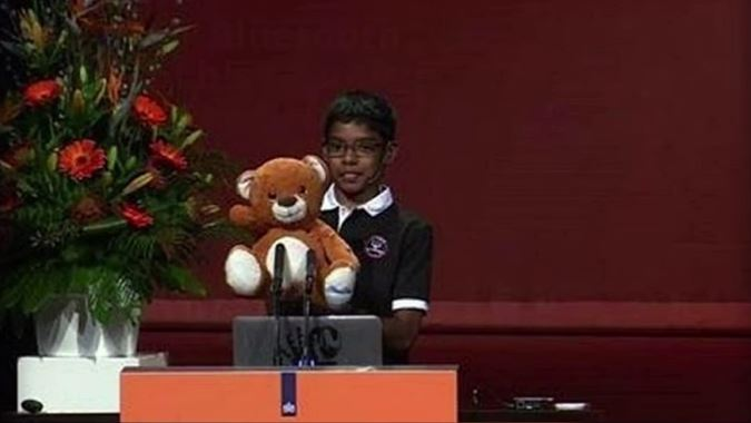 Hacks his robotic Teddy.