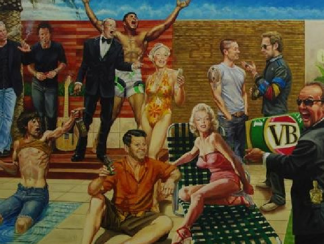 Part of Warne's mural he commissioned himself in a 2015 documentary entitled Shane Warne: Living The Dream.