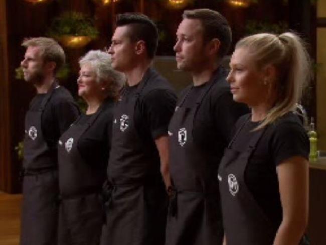 Arum Nixon, Benita Orwell, Ben Ungermann, Pete Morgan and Nicole Stevenson faced elimination tonight. Picture: Channel 10Source:Supplied