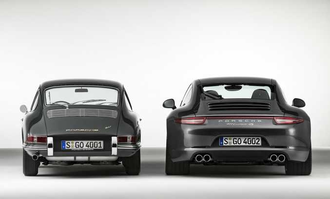 2014 Porsche 911 Carrera 4S Coupe with a 1964 Porsche 911 2.0 Coupe.