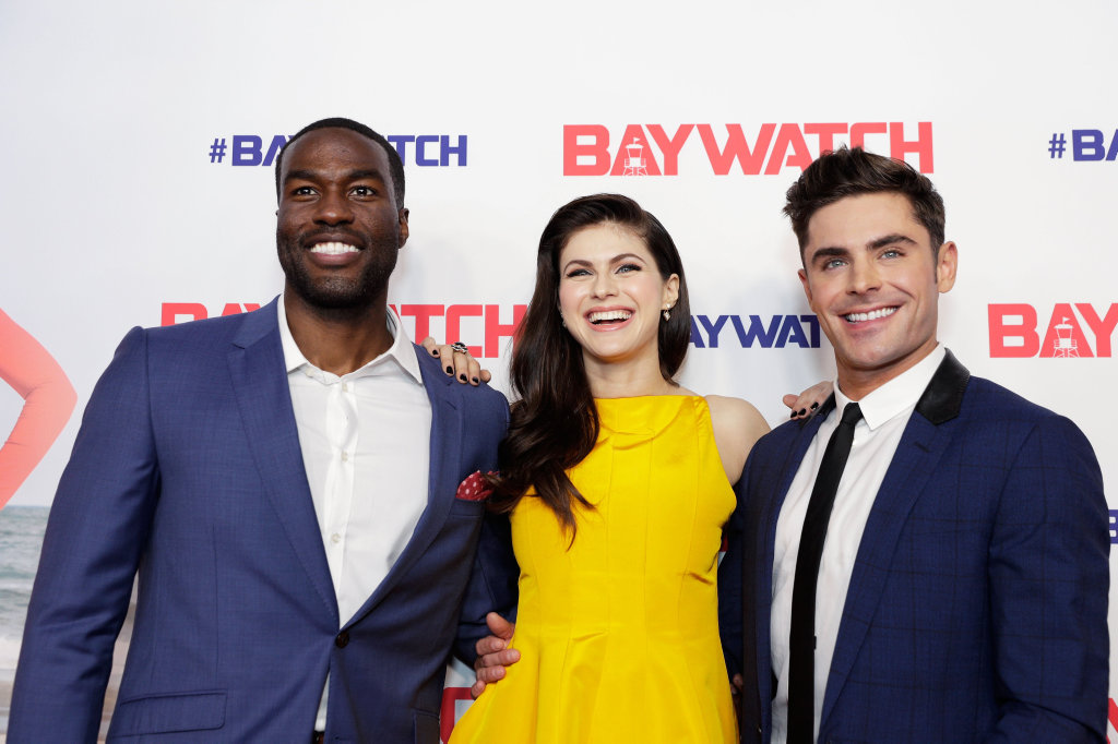 Yahya Abdul-Mateen, Alexandra Daddario and Zac Efron attend the Australian premiere of Baywatch in Sydney on Thursday night.