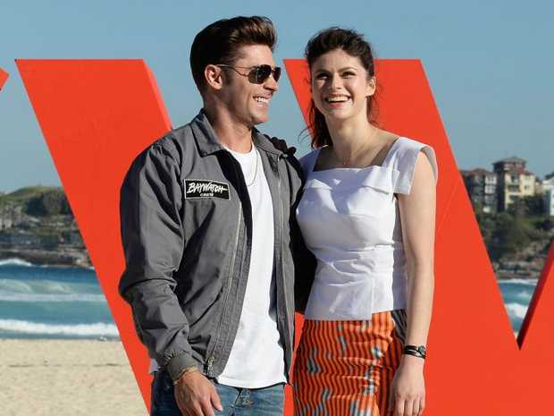Zac Efron and Alexandra Daddario at the 'Baywatch' photo call at Bondi Beach.
