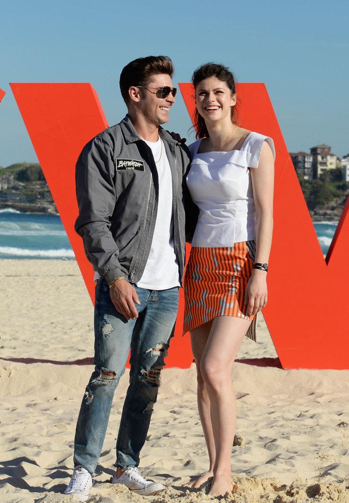 Zac Efron and Alexandra Daddario at the 'Baywatch' photo call at Bondi Beach.