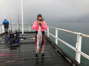 NICE CATCH: Bay mates fish off pier