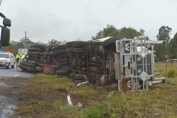 A truck rollover blocked the Gore Highway on the afternoon of May 19, 2017.