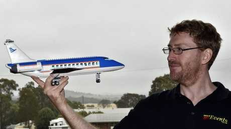 Adrian Murphy with one of the planes in his collection that will be on display. Lego at Showgrounds. May 2017