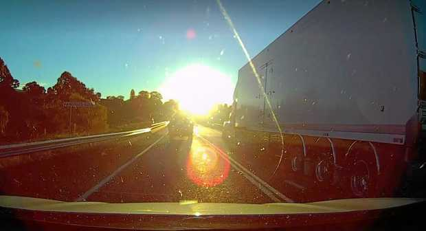 Dashcams capture the truck.