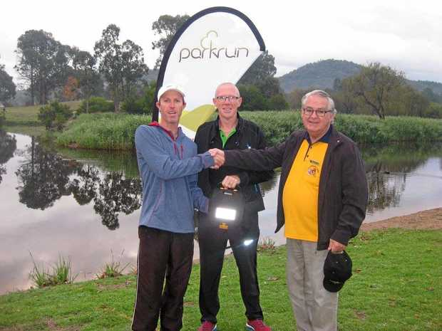 A defibrillator was presented at Stanthorpe parkrun on Saturday.