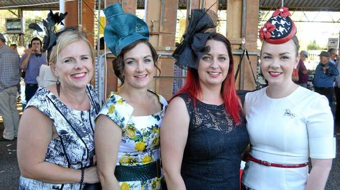 DRESSED TO THE NINES: Ladies at the Jandowae Cup race meeting last year.