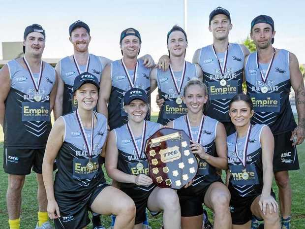 Members of the Ipswich Blackhawks mixed team that won the TRL state title.