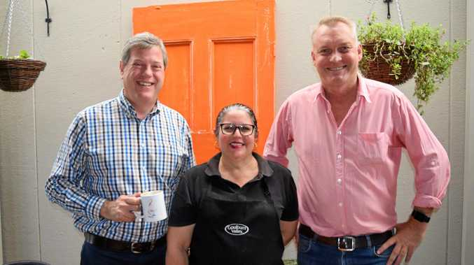 COFFEE CHAT: LNP Leader Tim Nicholls, Blah Blah Cafe Emerald's Leann Pollack and  MP Lachlan Millar .