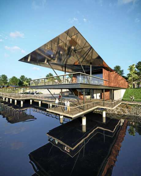 A artist's impression of the pier restaurant to be built in stage two of the Rockhampton riverbank redevelopment.
