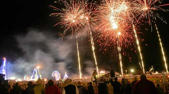 Fire Works light the night at the 2017 Gympie Show.