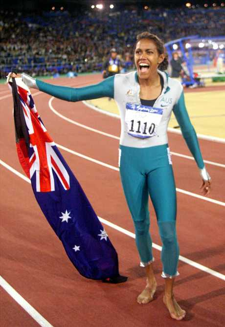 Cathy Freeman after winning gold in the 400m at the 2000 Sydney Olympics.
