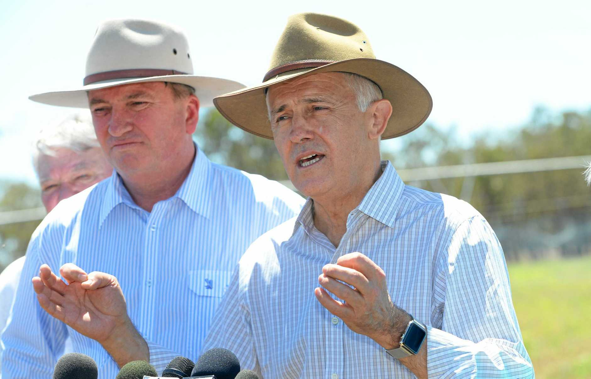 Prime Minister Malcolm Turnbull and Deputy Prime Minister Barnaby Joyce in Rockhampton last year to talk about infrastructure spending and the proposed Rookwood Weir.