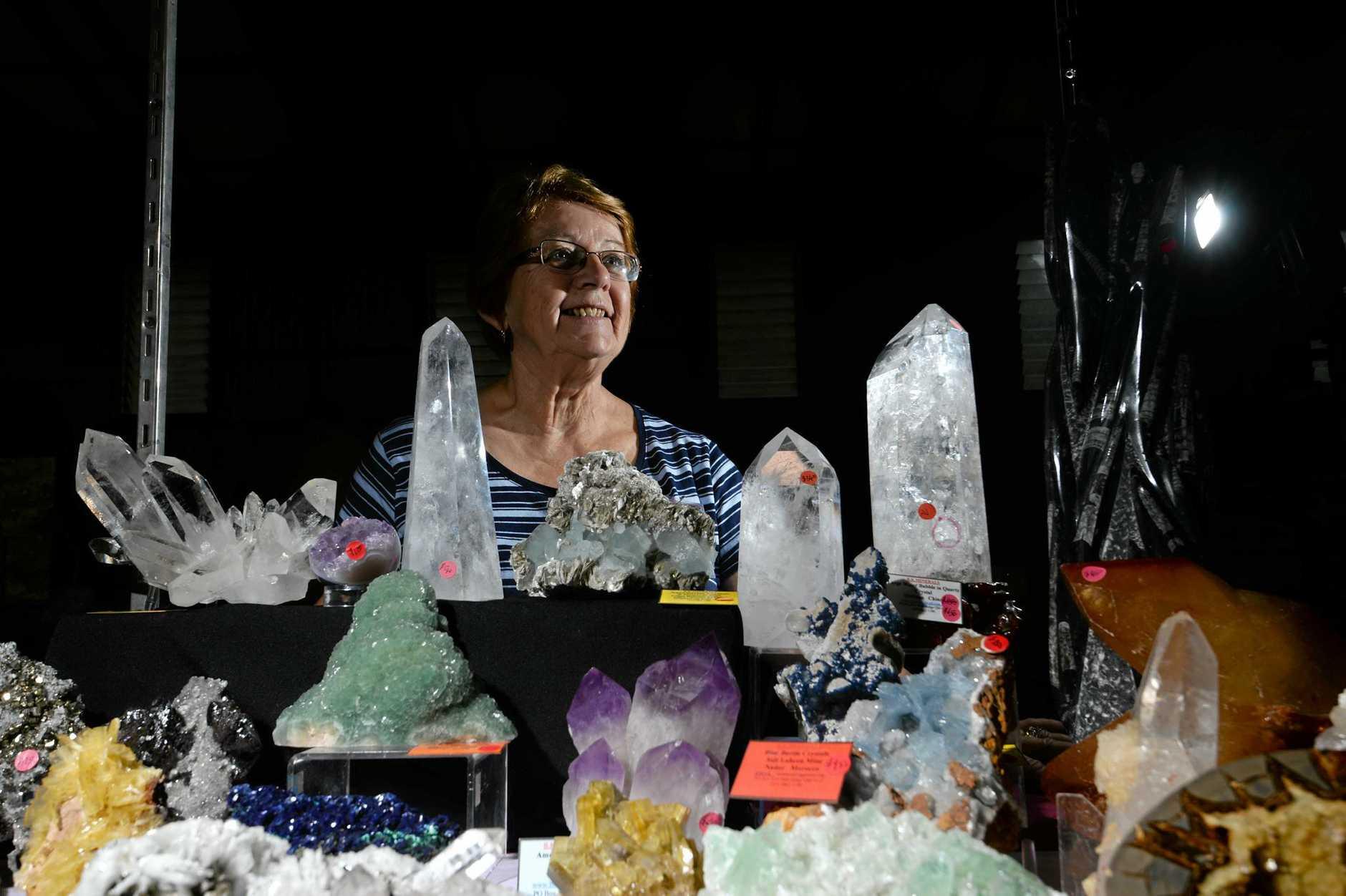 B.K. Minerals dealer Yvonne Kettley at Gemfest 2017 in Lismore.
