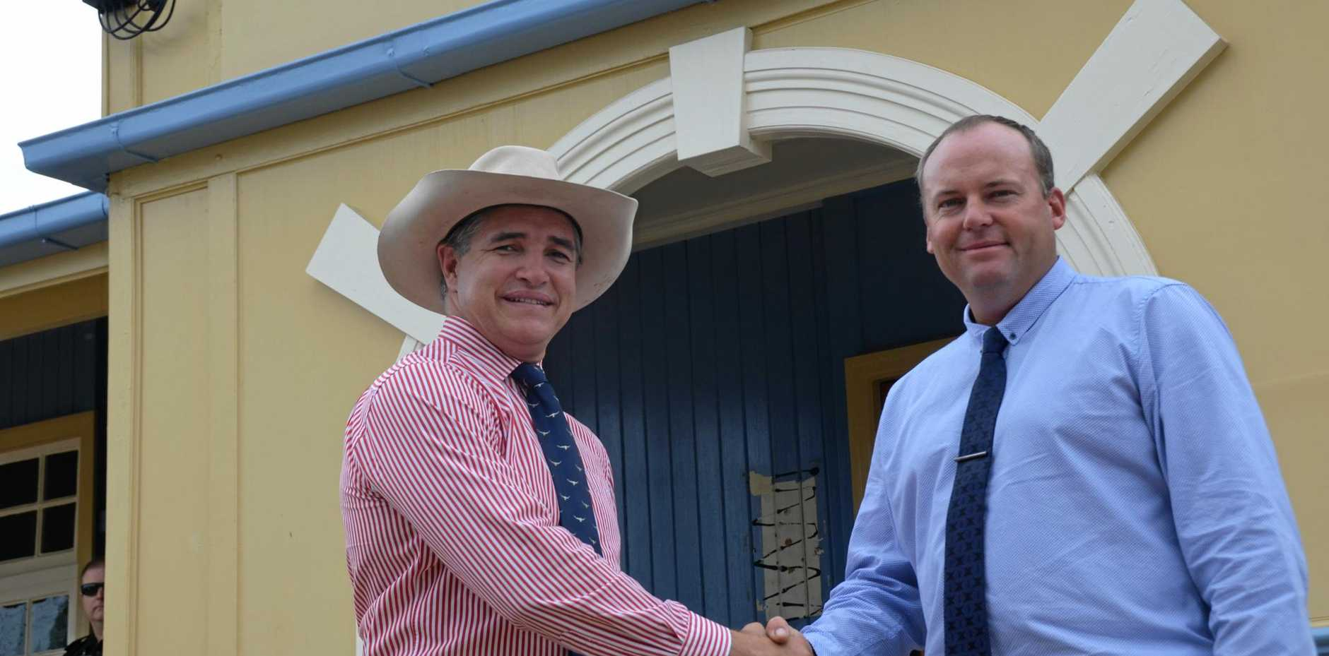 IN WITH A CHANCE: KAP state leader Robbie Katter (left) and Callide candidate Robbie Radel in Gayndah.
