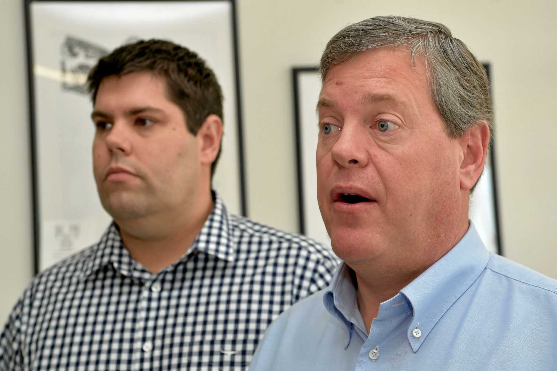 LNP State leader Tim Nicholls on the Sunshine Coast this week with Buderim candidate Brent Mickelberg (left) is unrecognisable to 10% of voters in the electorate, according to a Sunshine Coast Daily poll and not overly loved by those that do.
