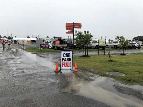 Event staff weren't allowing patrons to park at the showgrounds in a bid to prevent damage to the grounds.