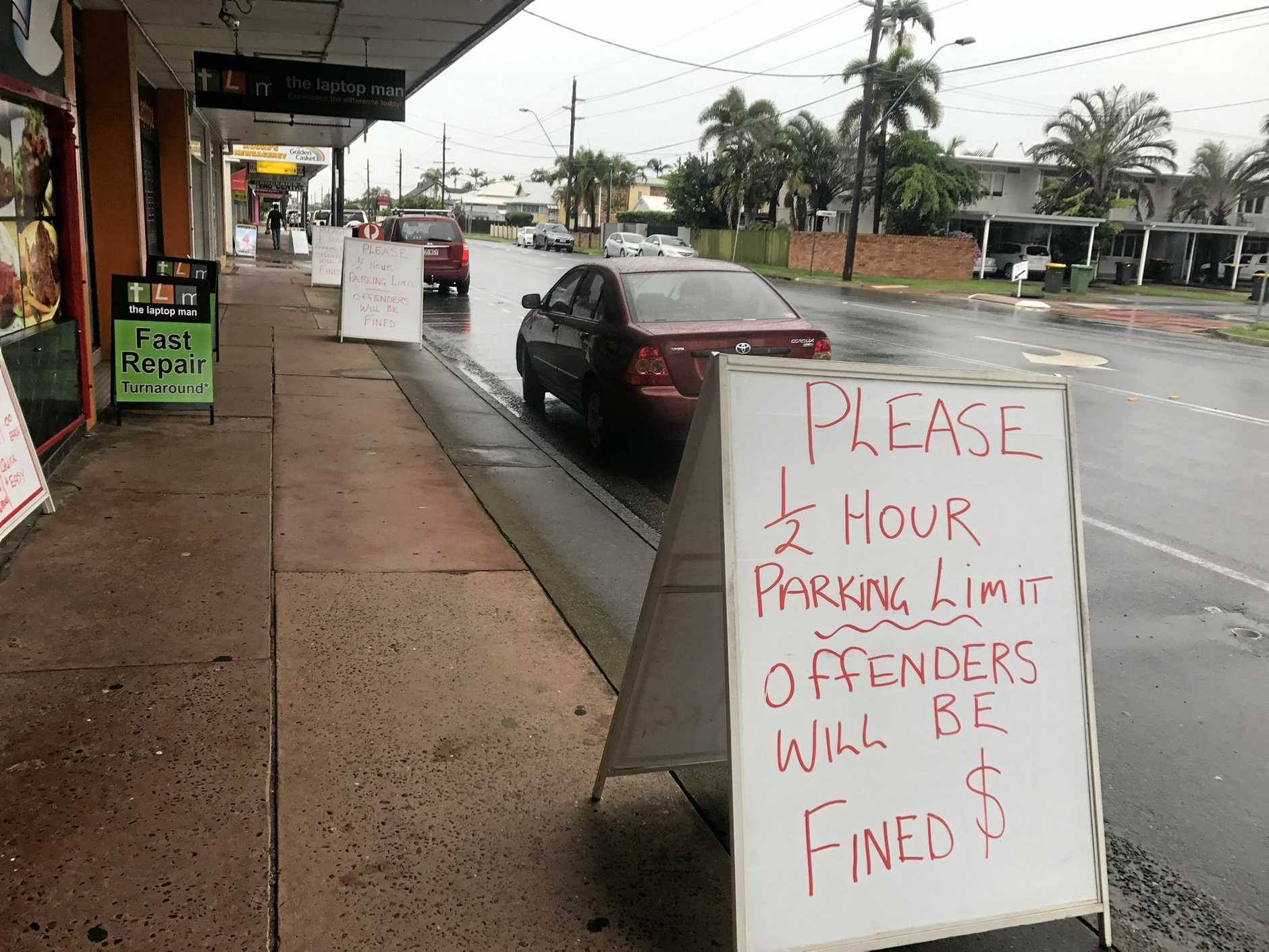 Signs warning motorists lined businesses surrounding the Showgrounds.